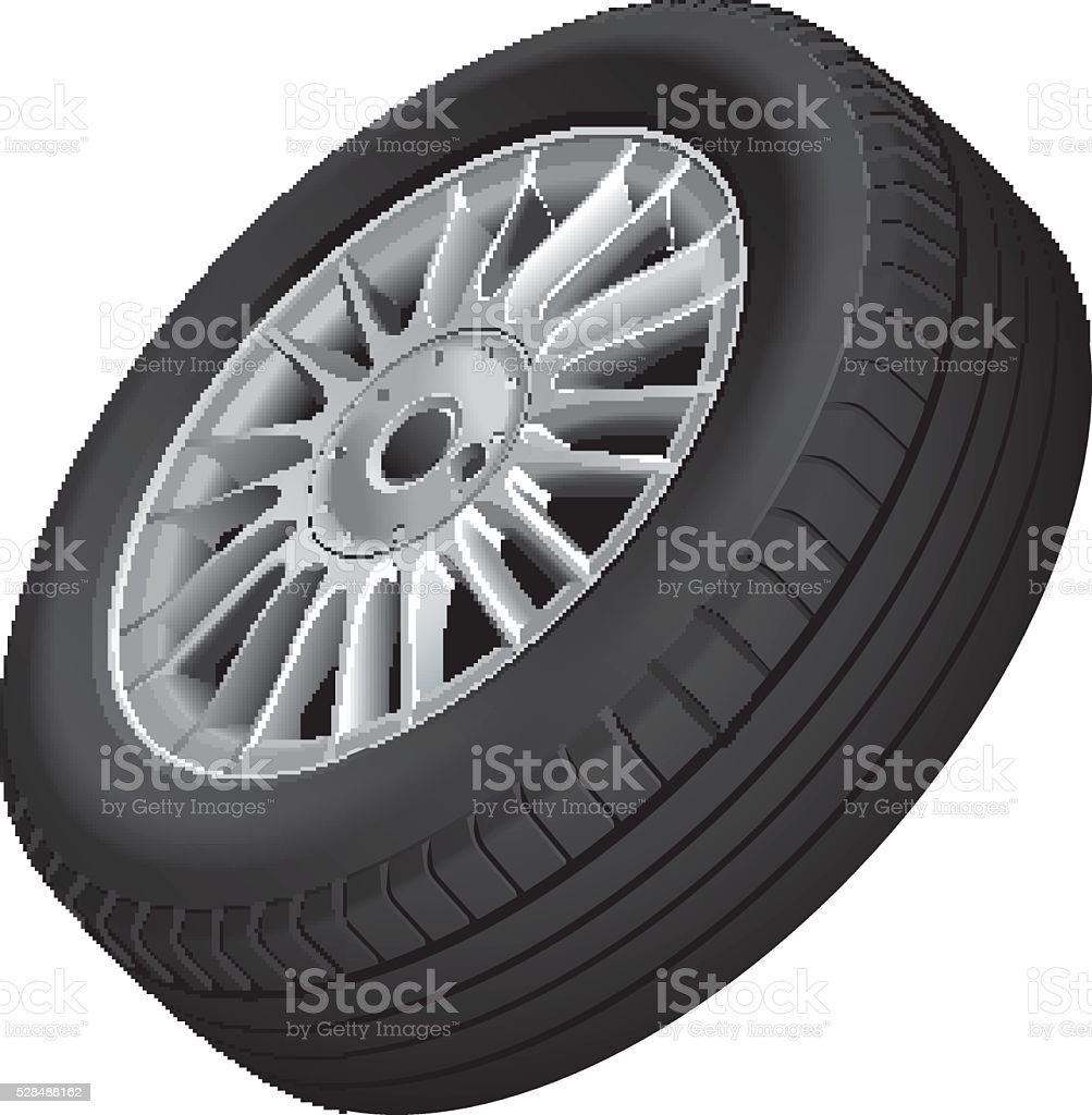 Wheel and tire isolated vector art illustration
