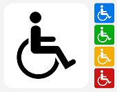 Wheel Chair User Icon Flat Graphic Design