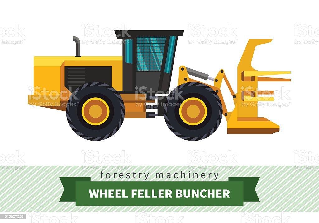 Wheel feller buncher vector art illustration