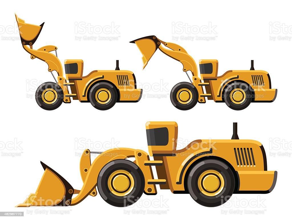 Wheel loader set vector art illustration