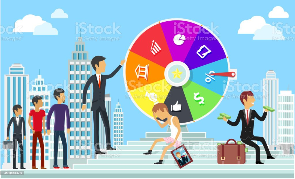 Wheel of Business Fortune  Concept vector art illustration