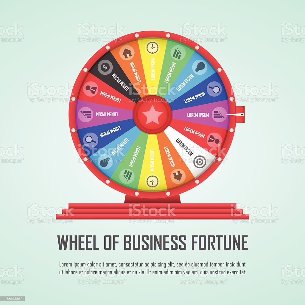 Wheel of fortune infographic design element vector art illustration