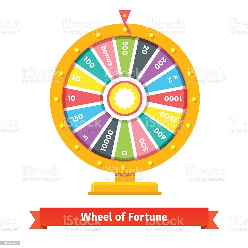 Wheel of fortune with number bets vector art illustration