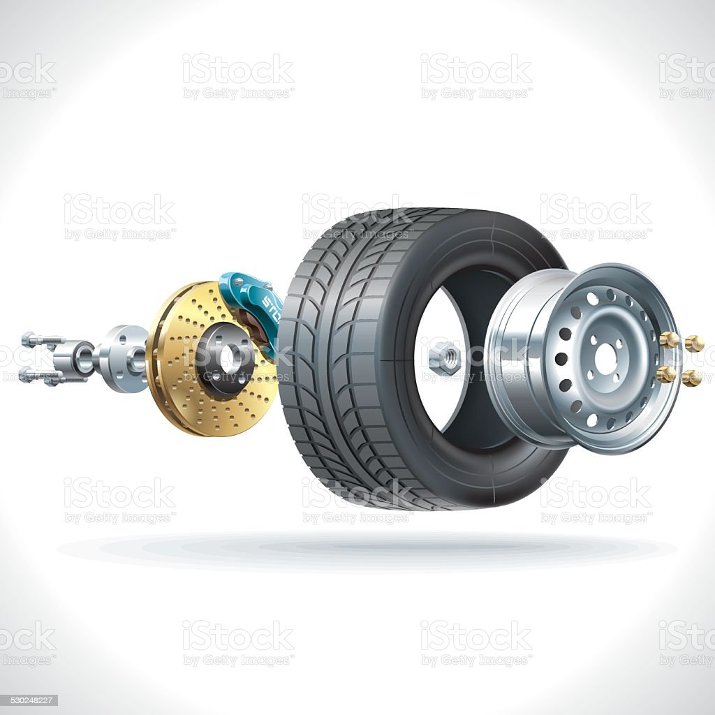Wheel Parts vector art illustration