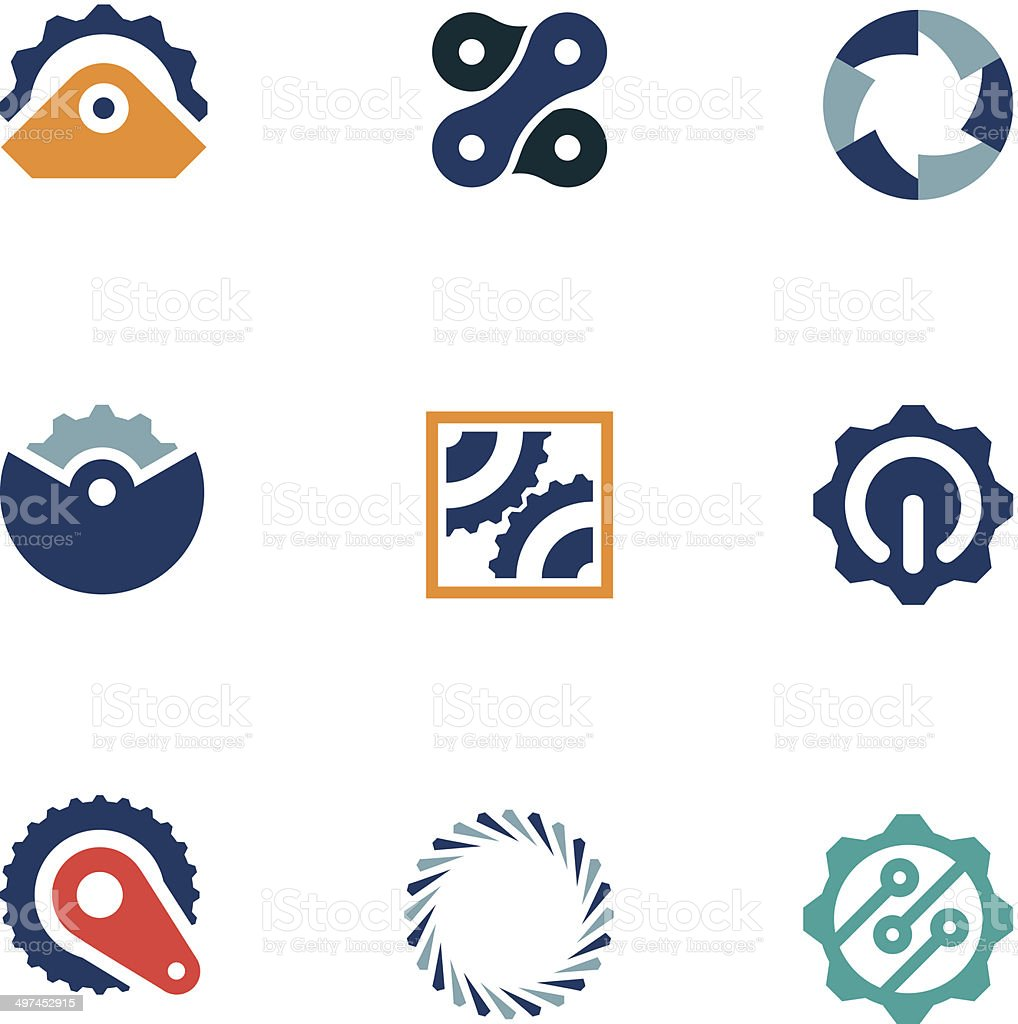 Wheel power steal machine industrial part logo icons set vector art illustration