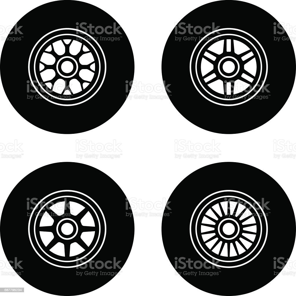 F1 wheel symbols vector art illustration