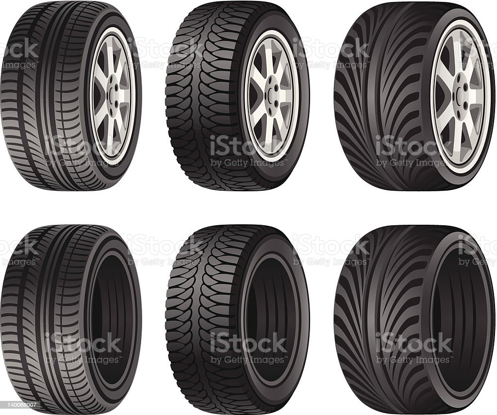 Wheel tires with and without rims vector art illustration