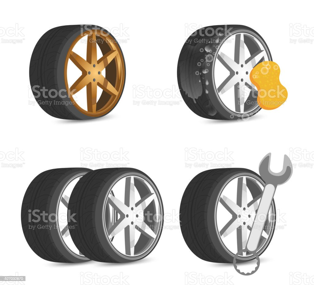 Wheel tool and repair vector art illustration