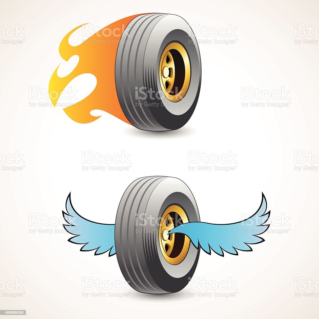 Wheel with flames and wheel with wings vector art illustration