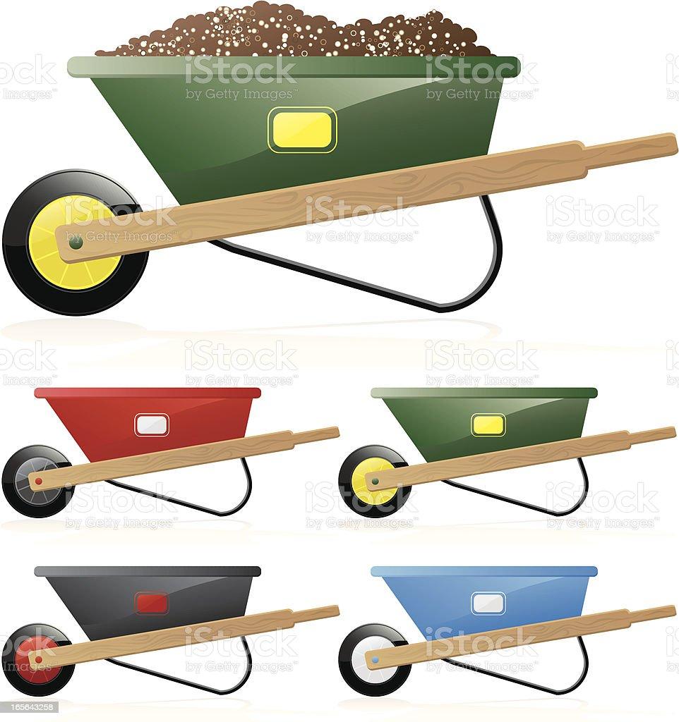 Wheelbarrows in verschiedenen Farben-leer, voller Schmutz, Boden Lizenzfreies vektor illustration