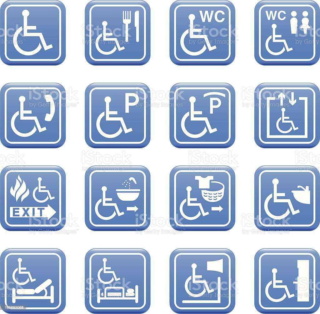 Wheelchair Access And Facilities Icons royalty-free stock vector art