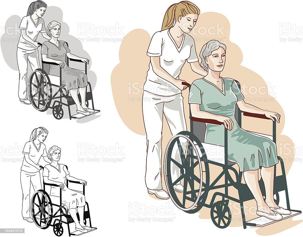 Инвалидное кресло и Больница безопасности для пожилых людей. Сток Вектор Стоковая фотография