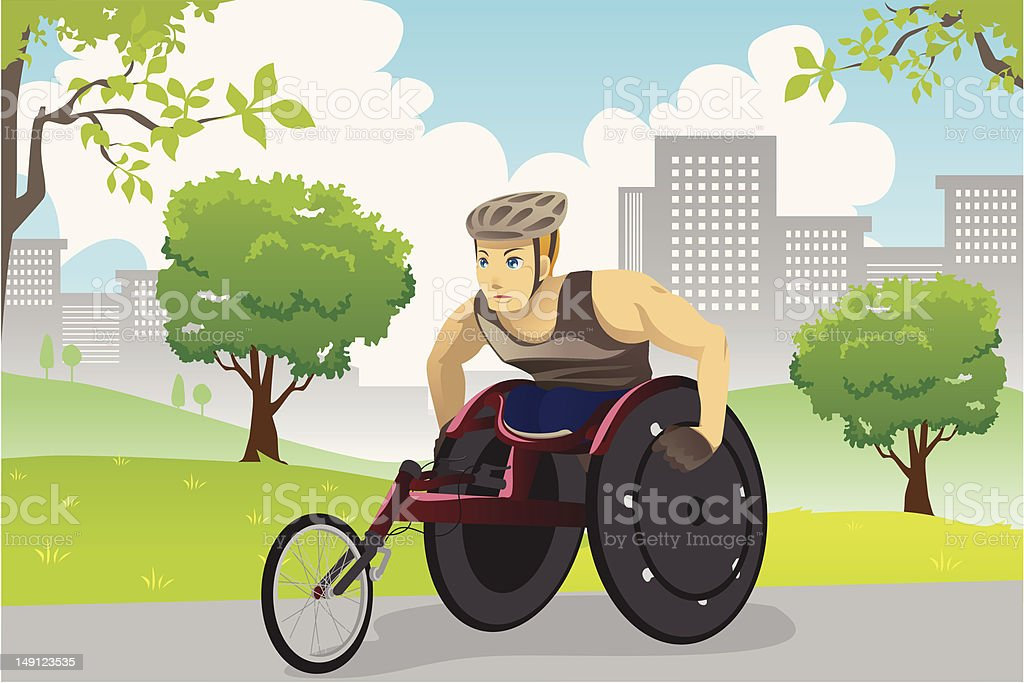 Wheelchair athlete vector art illustration