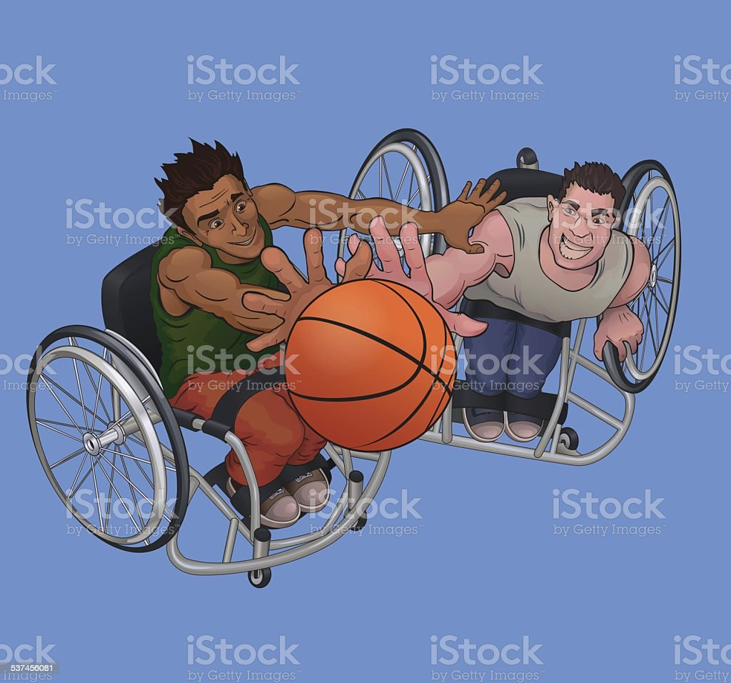 Wheelchair basketball vector art illustration
