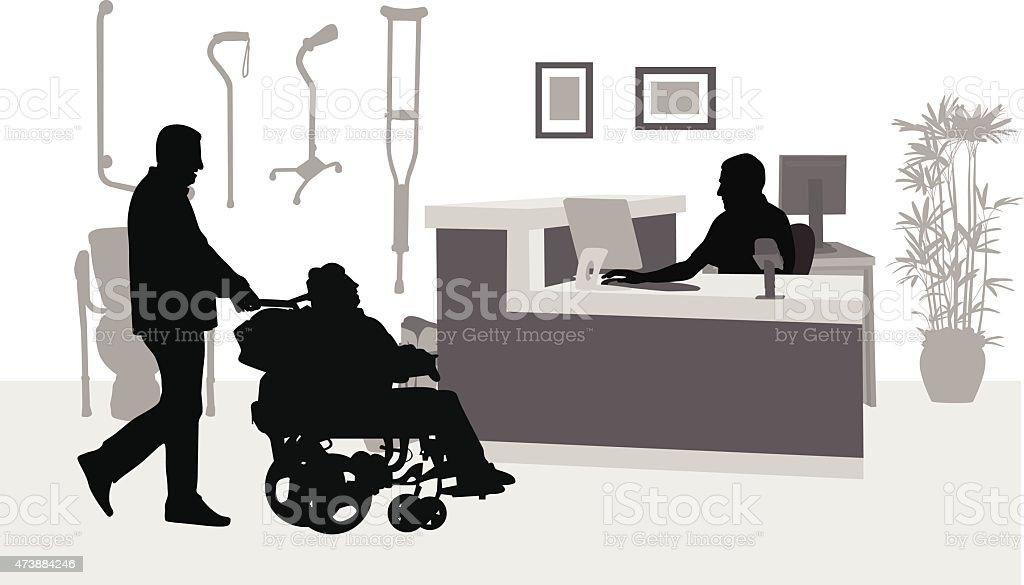 Wheelchair Bound vector art illustration