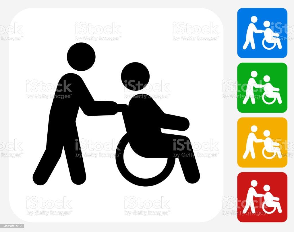 Wheelchair Caregiver Icon Flat Graphic Design vector art illustration