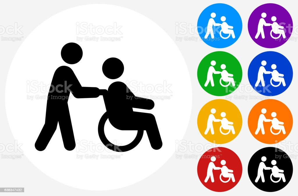 Wheelchair Caregiver Icon on Flat Color Circle Buttons vector art illustration