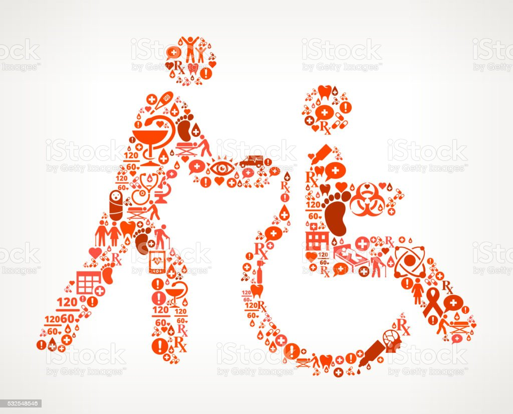 Wheelchair Healthcare and Medicine Seamless Icon Pattern vector art illustration