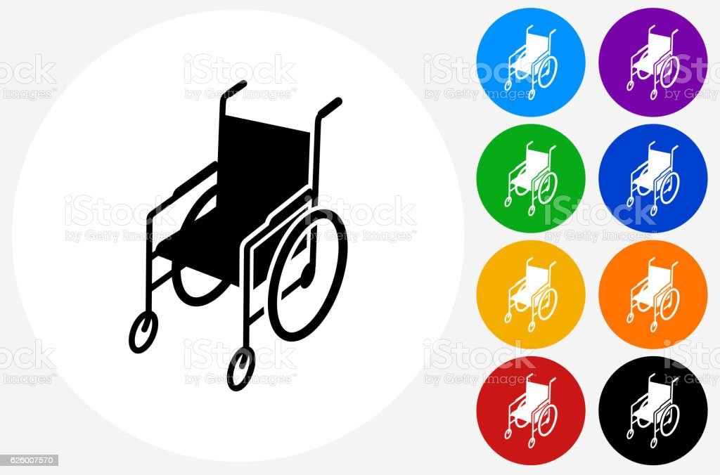 Wheelchair Icon on Flat Color Circle Buttons vector art illustration