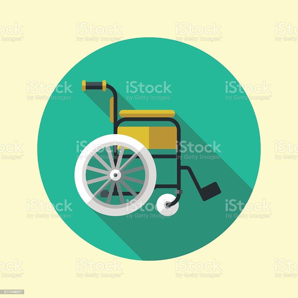 Wheelchair long shadow flat design medical icon. Vector illustration. vector art illustration