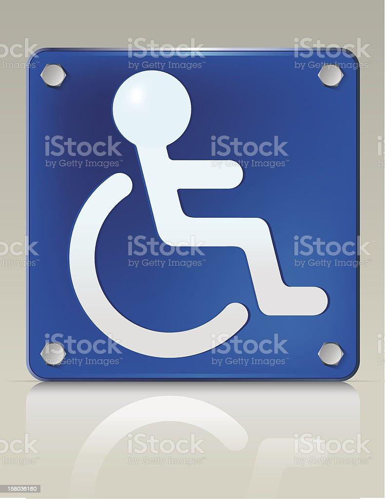 Wheelchair Person Placard vector art illustration