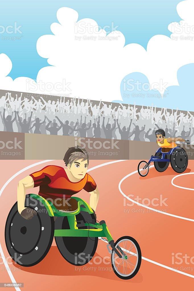 Wheelchair race vector art illustration