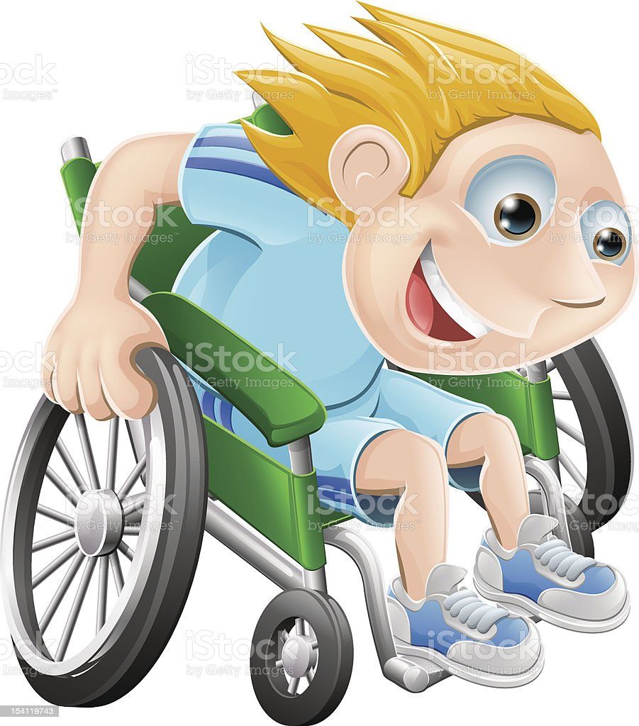 Wheelchair racing cartoon man vector art illustration