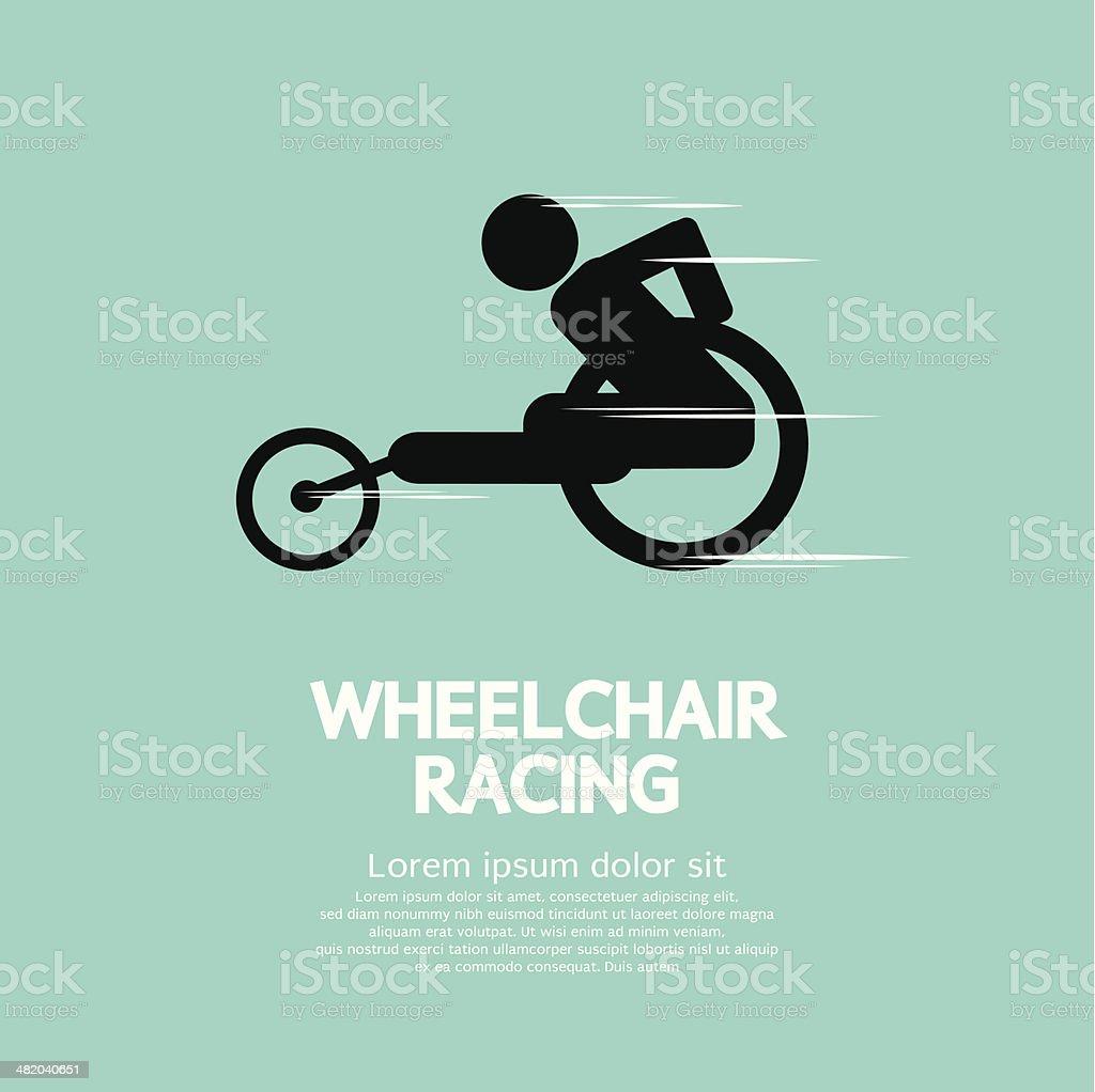 Wheelchair Racing Sign vector art illustration