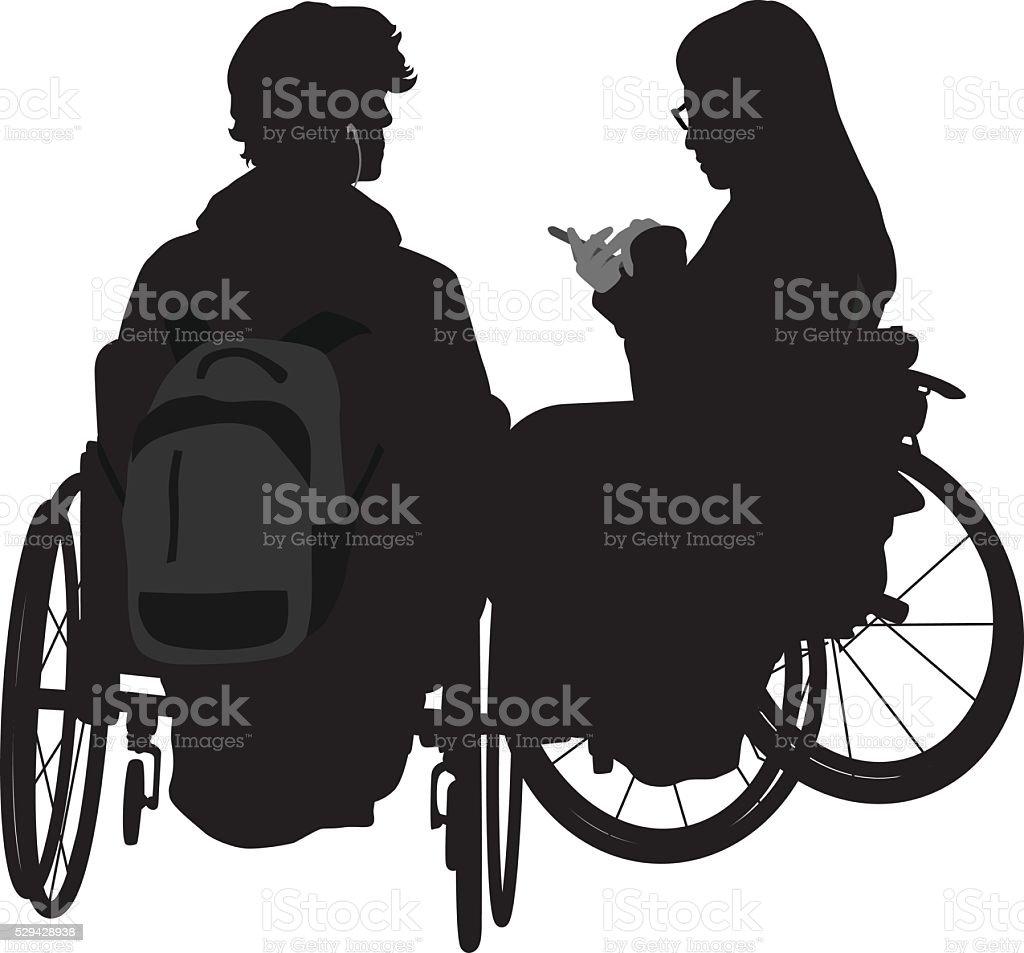Wheelchair Student Couple vector art illustration