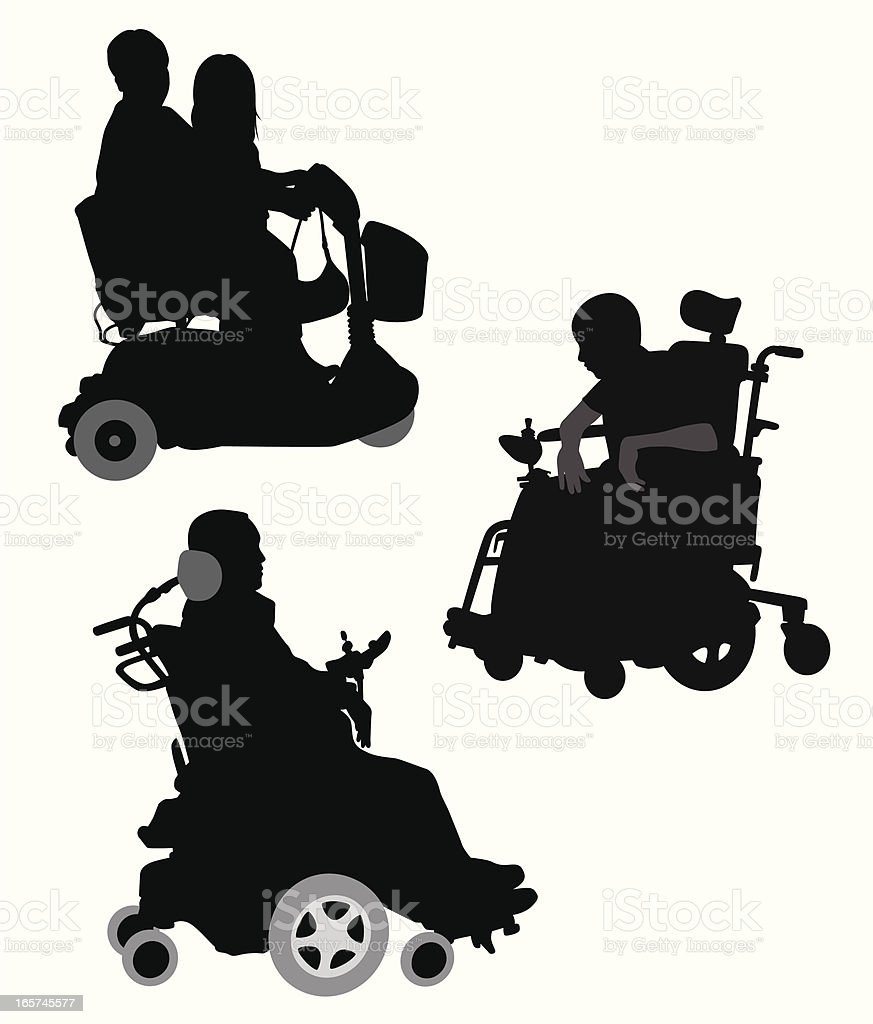 Wheelchairs Vector Silhouette royalty-free stock vector art