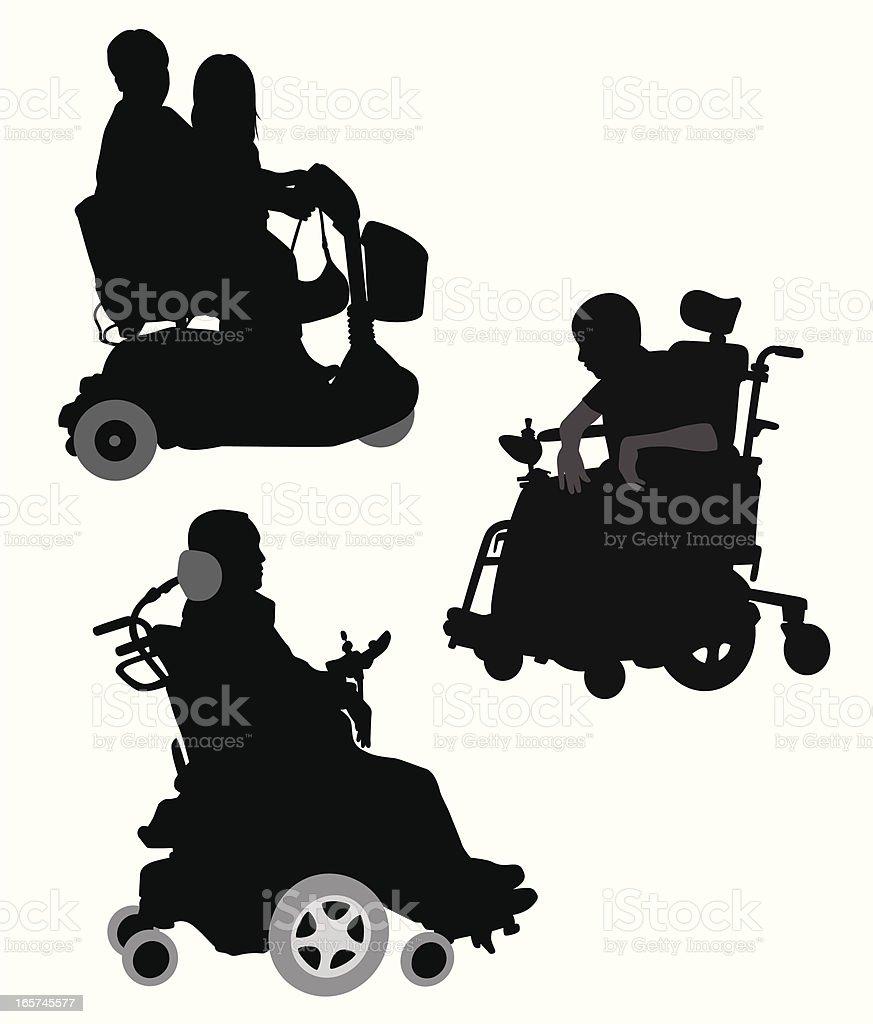 Wheelchairs Vector Silhouette vector art illustration