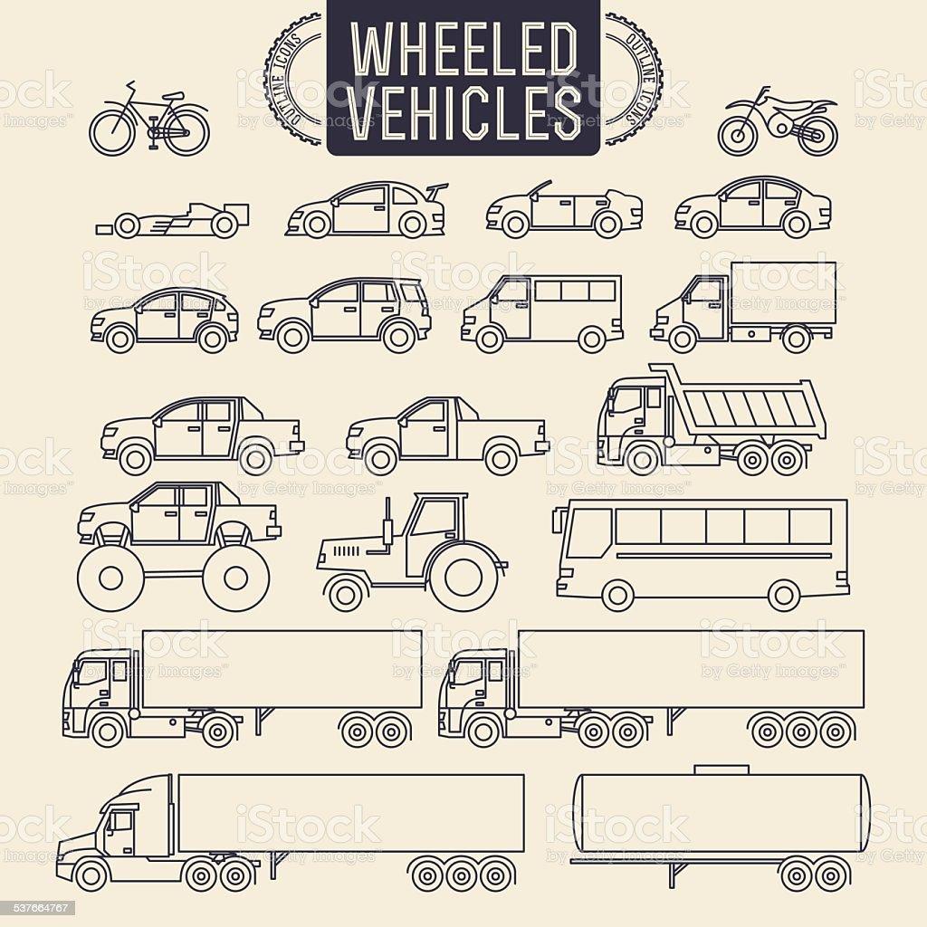 Wheeled vehicles icons vector art illustration