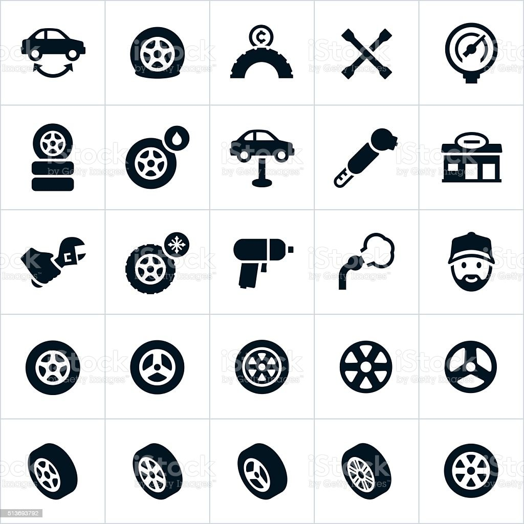 Wheels, Tires and Tire Repair Icons vector art illustration