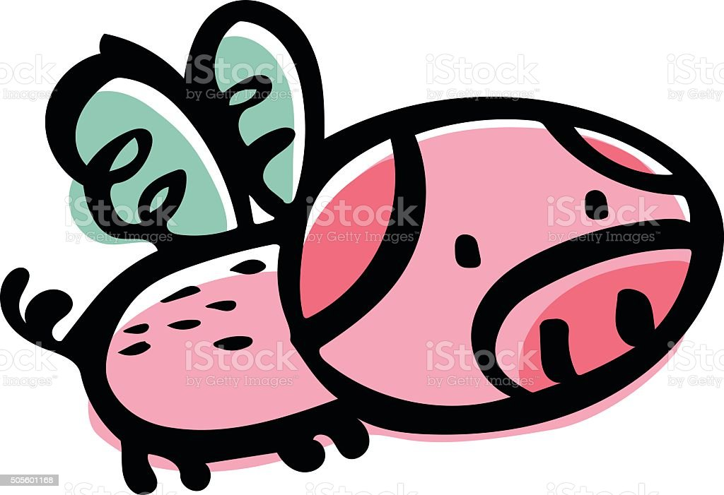When Pigs Fly Doodle vector art illustration