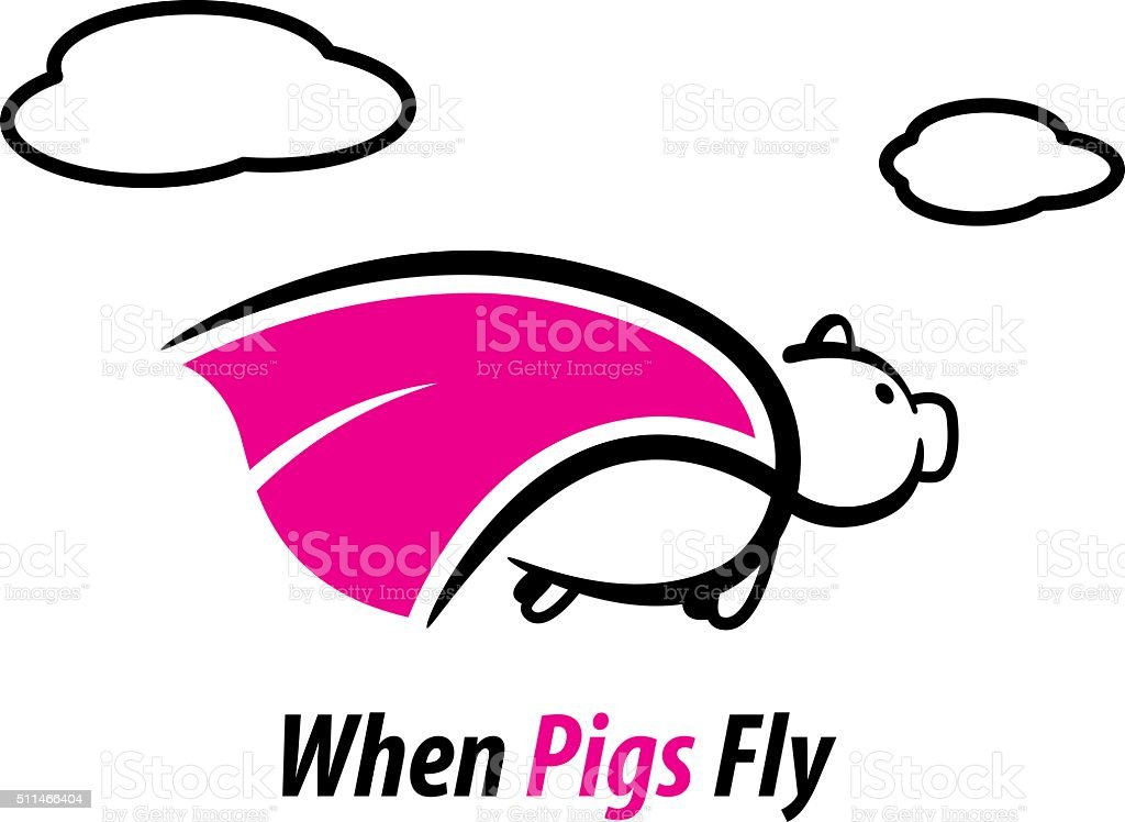 When pigs fly vector art illustration