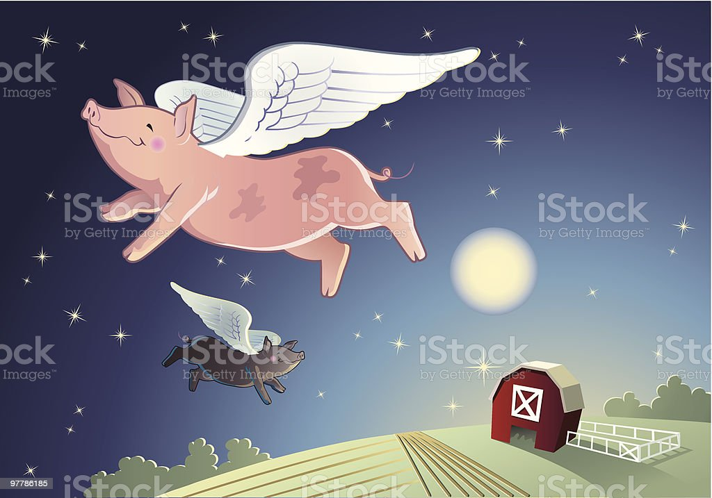 When Pigs Fly royalty-free stock vector art