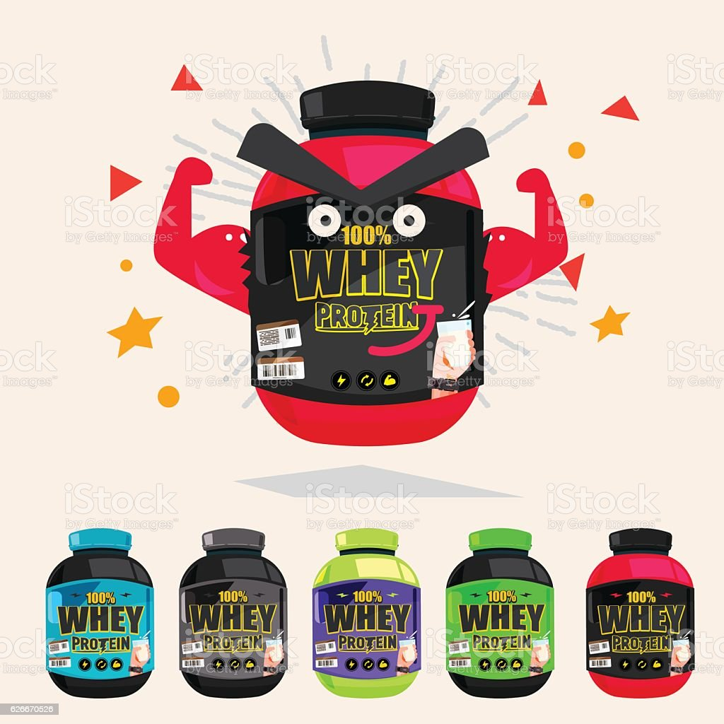 whey protein showing muscle arm. strong and power concept vector art illustration
