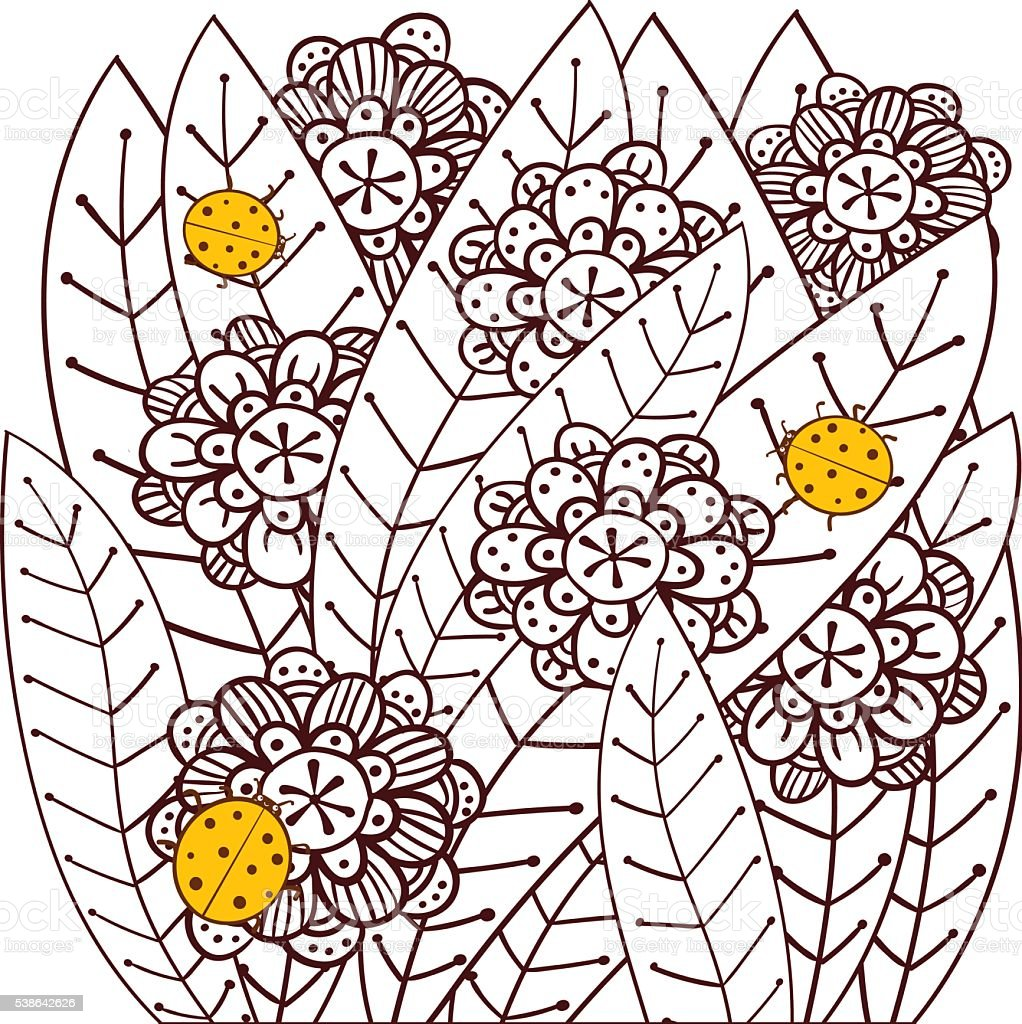 Whimsical designs coloring book - Whimsical Garden With Ladybugs Adult Coloring Book Page Vector Illustration Royalty Free Stock