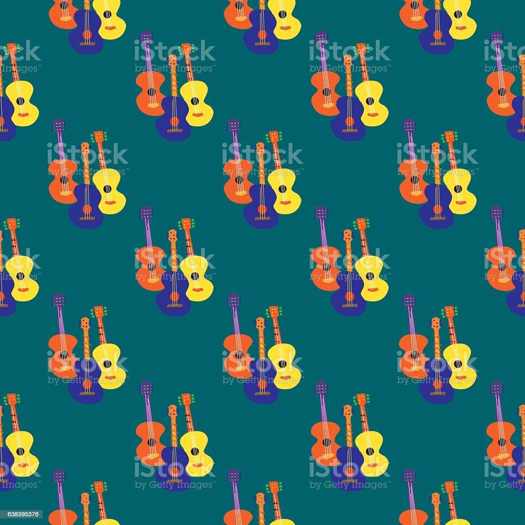 Whimsical Guitars Seamless pattern vector art illustration