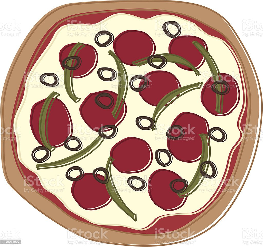 Whimsical Pizza Drawing vector art illustration