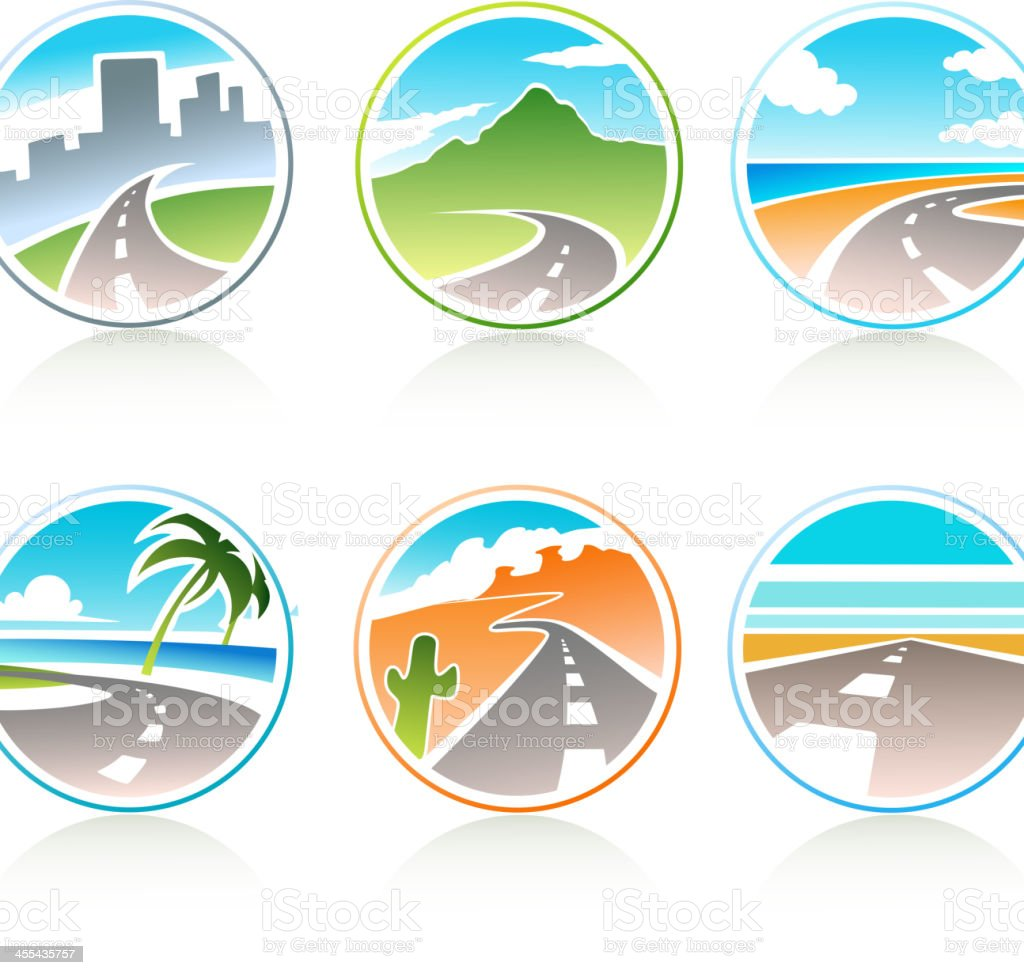 Whimsical, scenic, round travel icons with road graphic vector art illustration