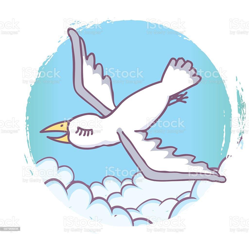 Whimsical Seagull Illustration vector art illustration