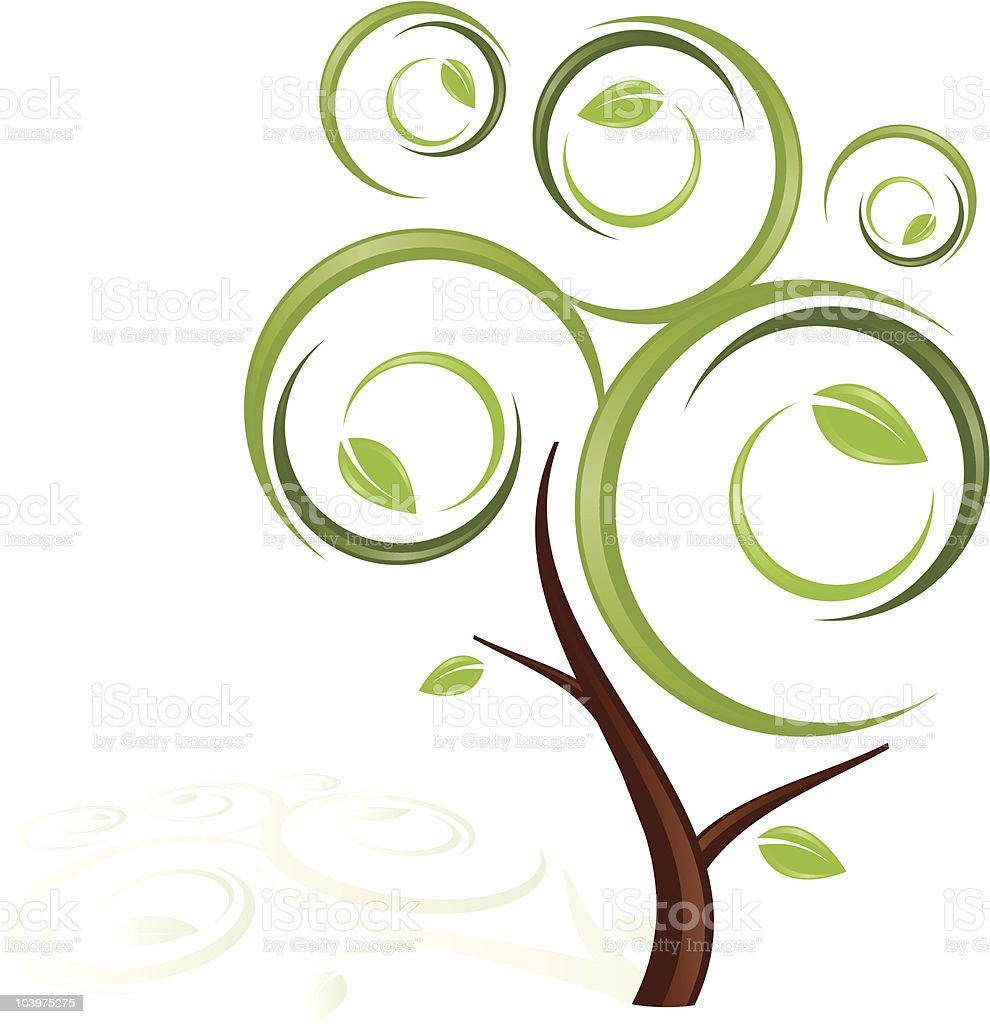 Whimsical Stylized Tree vector art illustration