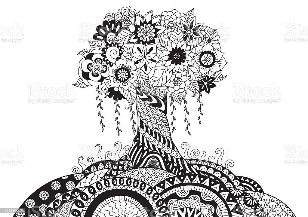 Whimsical tree vector art illustration