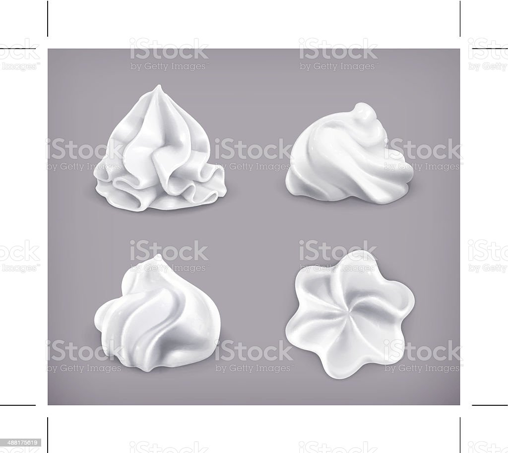Whipped cream, icon set vector art illustration