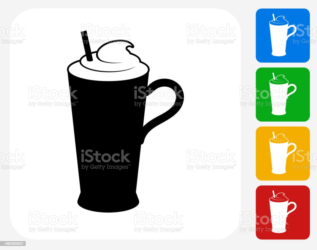 Whipped Drink Icon Flat Graphic Design vector art illustration