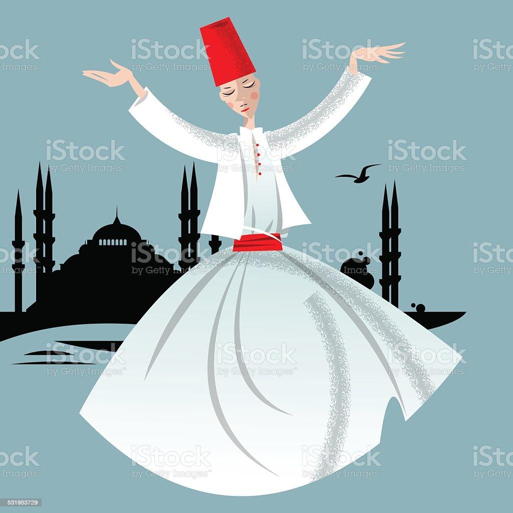 Whirling Dervish. Istanbul. vector art illustration