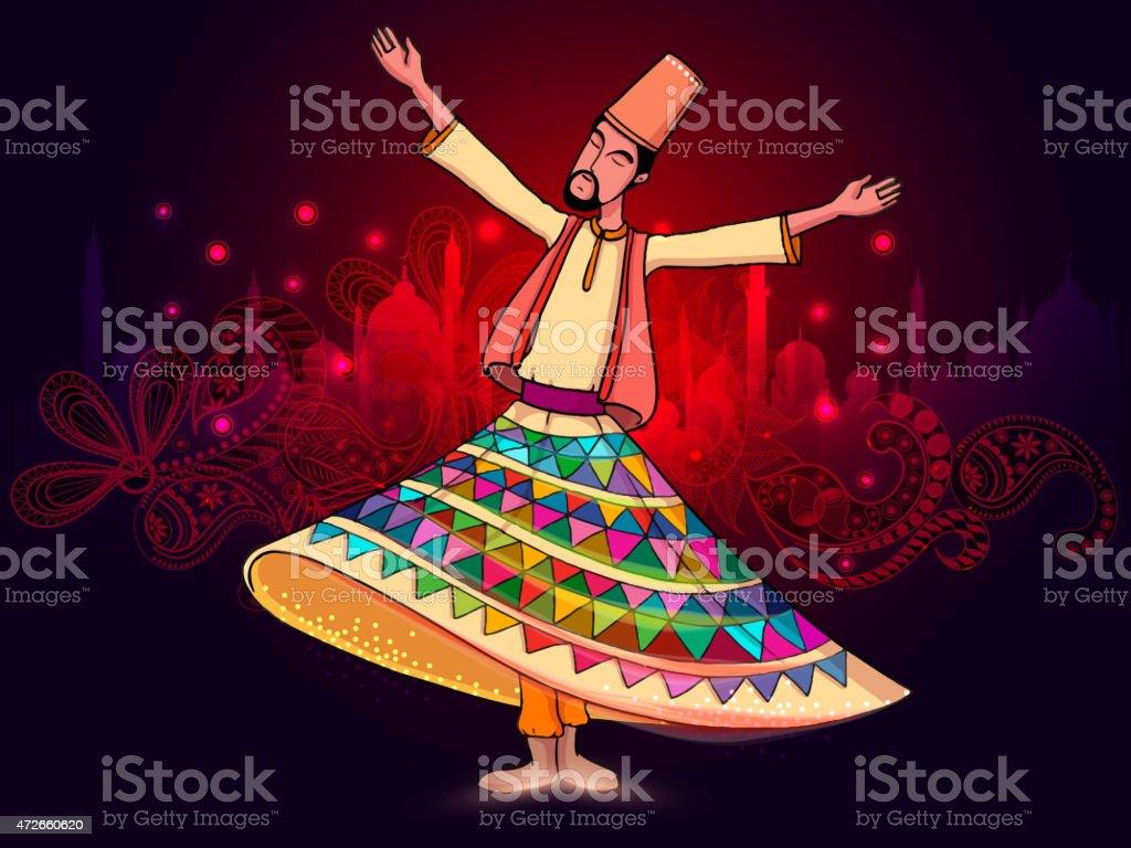 Whirling dervish on occasion of Ramadan Kareem celebration. vector art illustration