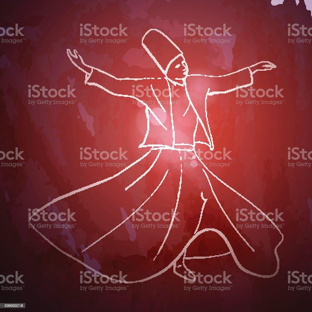 Whirling Dervish sufi religious dance vector art illustration