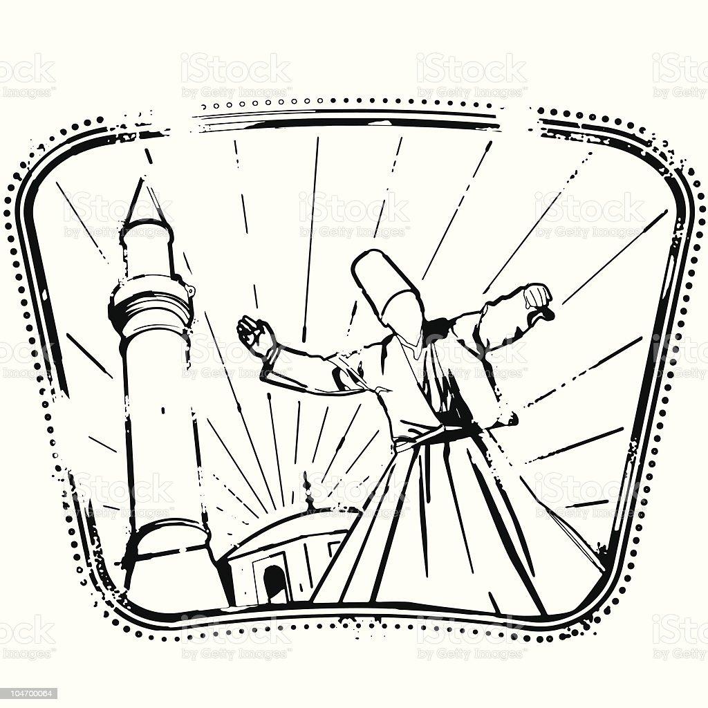 Whirling Dervish vector art illustration